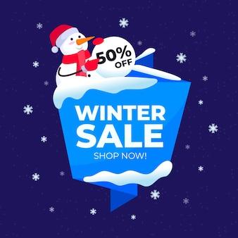 Flacher winterschlussverkauf mit schneemann mit sankt hut