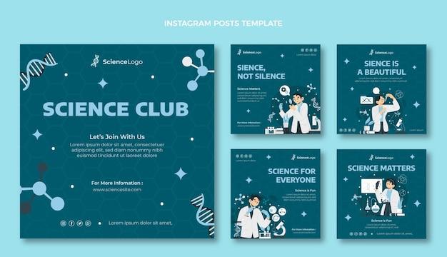 Flacher wissenschafts-instagram-post Kostenlosen Vektoren