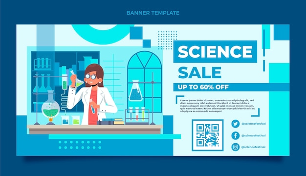 Flacher wissenschaftsverkaufshintergrund