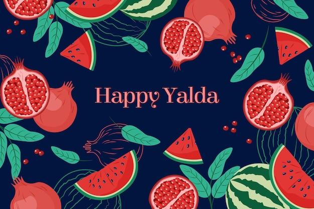 Flacher yalda-hintergrund mit früchten