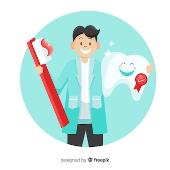 Flacher zahnarzt, der um einem zahnhintergrund sich kümmert