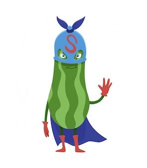 Flacher zucchinisuperheldcharakter der karikatur, gemüse in der maske.