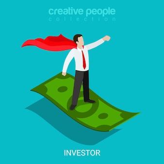 Flaches 3d isometrisches investorenfinanzierungs-evangelistenkonzept