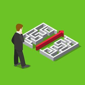Flaches 3d-web-isometrisches infografikkonzept der geschäftslabyrinth-puzzle-lösung