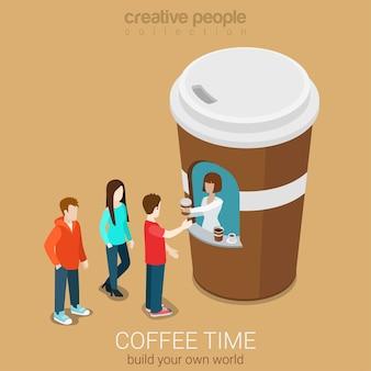 Flaches 3d-web-isometrisches infografikkonzept des kaffee-mini-verkaufsstellenkonzepts
