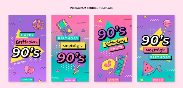 Flaches 90er jahre nostalgisches geburtstags-facebook-cover