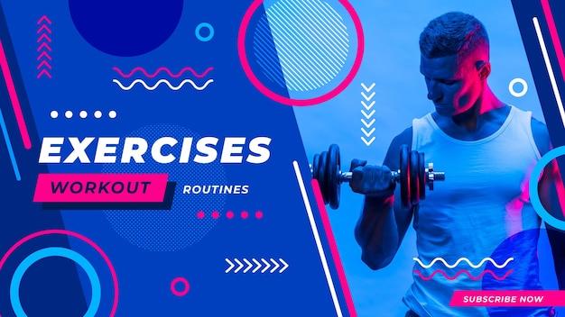 Flaches abstraktes sport-youtube-vorschaubild