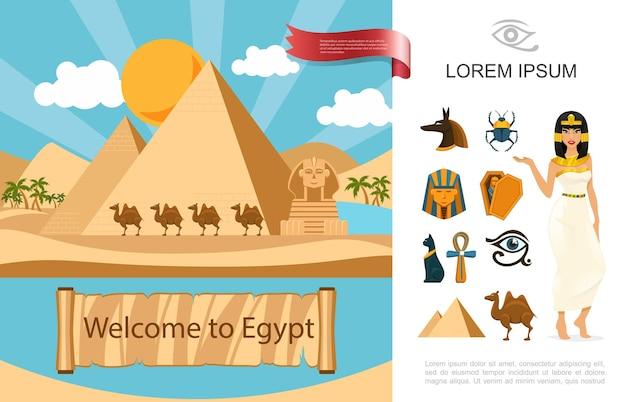 Flaches ägypten-touristenkonzept mit pyramiden-kamelpalmen-sphinx in der wüste und verschiedene ägyptische traditionelle symbolillustration,