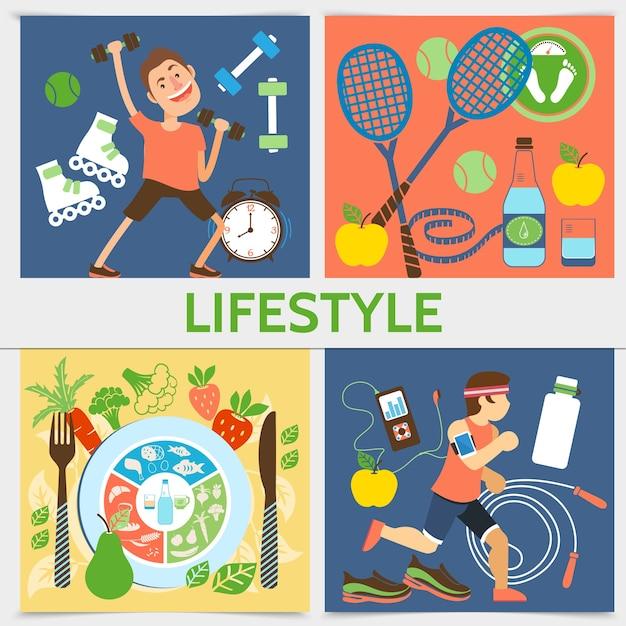 Flaches aktives lebensstilquadratkonzept mit sportausrüstung der fitnessleute und illustration der gesunden nahrung