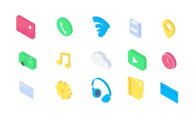 Flaches app-symbol für isometrische mobile symbole. 3d icons telefon ui zeichen vorlage