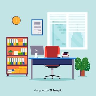 Flaches arbeitsplatzkonzept mit schreibtisch und stuhl