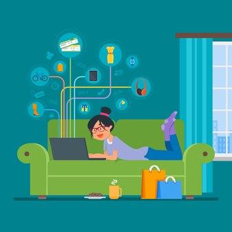 Flaches artdesign der on-line-einkaufskonzept-illustration. mädchen, das online auf dem internet zu hause bleibt kauft. innenraum.