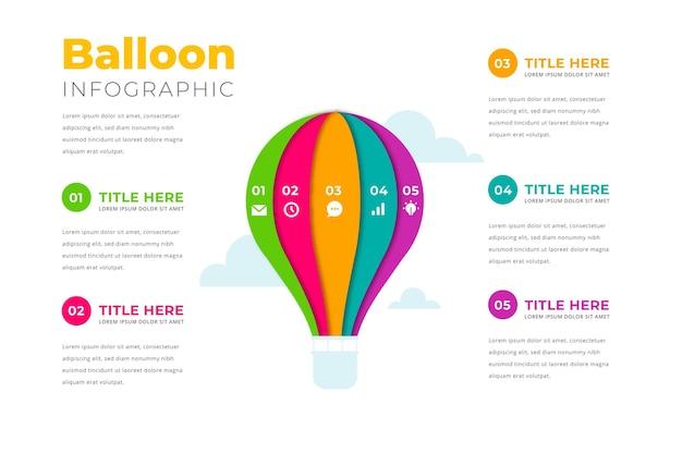 Flaches ballon-infografikkonzept