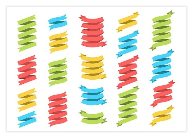 Flaches bandfahnenvektorsatzillustration bunte flache geschwungene formbänder scrollen fahnen oder gewellt