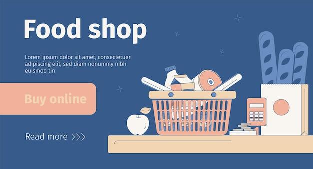 Flaches banner des online-lebensmittelgeschäfts mit korb und tasche mit produkten auf der kasse