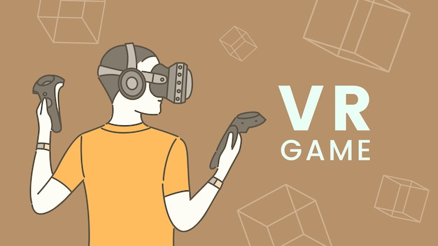 Flaches banner des virtual-reality-spiels