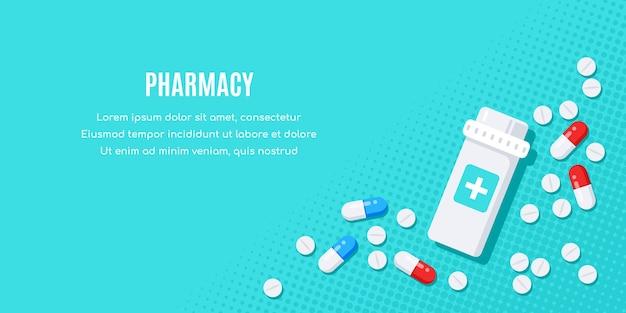 Flaches bannerdesign mit medikamenten. tabletten, kapseln, schmerzmittel, antibiotika, vitamine und kleine flaschen.