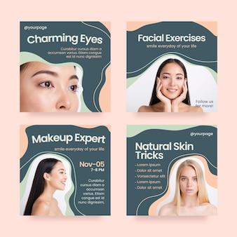 Flaches beauty-instagram-post-set