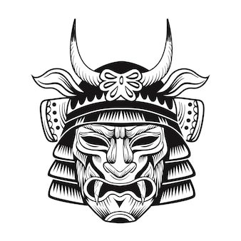 Flaches bild der schwarzen maske der japanischen ninja. japanische traditionelle weinlesekämpfer isolierte vektorillustration