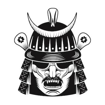 Flaches bild der schwarzen maske des japanischen kriegers. japan samurai. weinlesevektorillustration