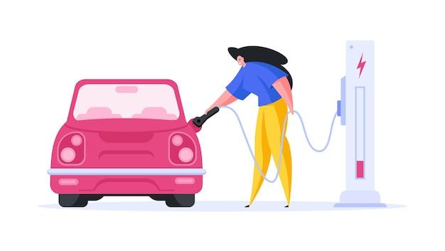 Flaches bilddesign mit weiblichem charakter, der modernes automobil auflädt
