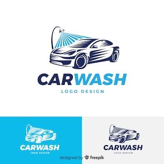 Flaches blaues autowaschlogo