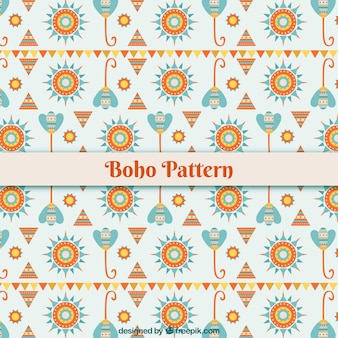 Flaches boho-muster mit blumenmuster