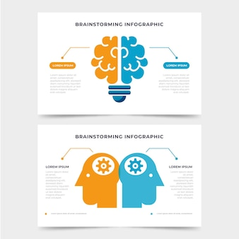 Flaches brainstorming-infografik-konzept