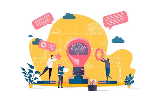 Flaches brainstorming-konzept mit personenzeichenillustration