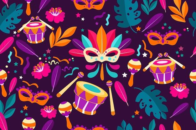 Flaches brasilianisches karnevalsmuster mit trommeln