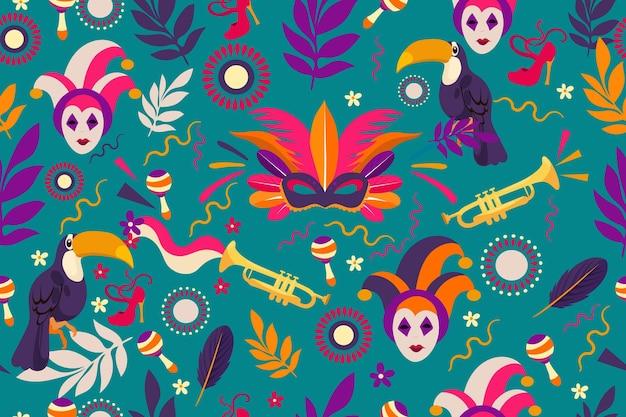 Flaches brasilianisches karnevalsmuster mit tucan