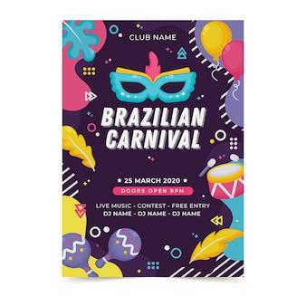Flaches brasilianisches karnevalsplakat