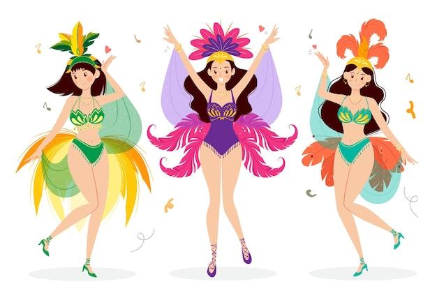 Flaches brasilianisches karnevalstänzerpaket