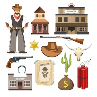 Flaches buntes zeichensymbolplakat des cowboyschablonenvektors.