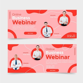 Flaches business webinar banner design