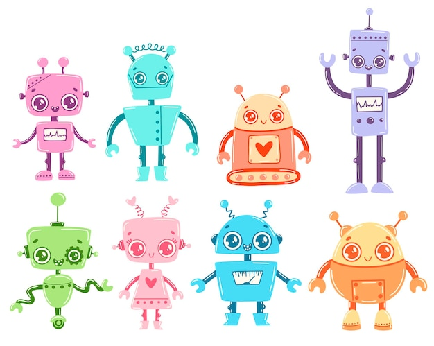 Flaches cartoon-roboter-set im doodle-stil