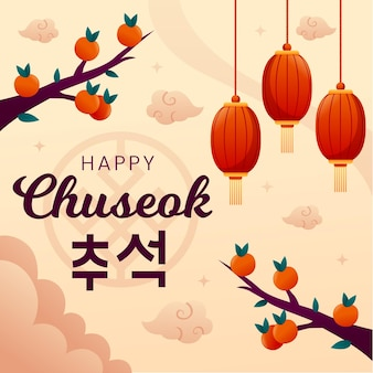 Flaches chuseok-illustrationskonzept