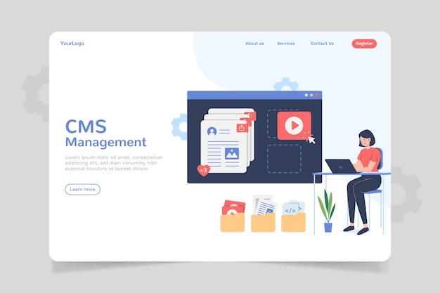 Flaches cms-inhalts-landingpage-design