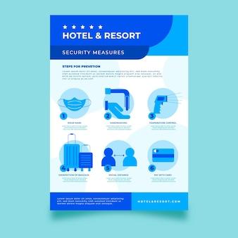 Flaches coronavirus-präventionsplakat für hotels