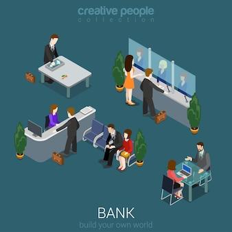 Flaches d isometrisches abstraktes bankbürogebäudebodeninnere