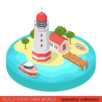 Flaches d isometrisches kreatives modernes leuchtturminsel-marinebootbausteininfo-grafikkonzept