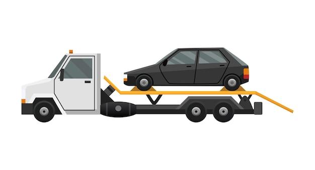 Flaches defektes auto, das auf einen abschleppwagen geladen wird