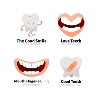 Flaches dental-logo-vorlagenpaket