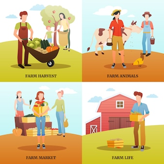 Flaches design 2x2 designkonzept mit familien, die im herbst auf dem bauernhof leben und arbeiten