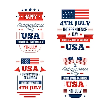 Flaches design 4. juli etiketten