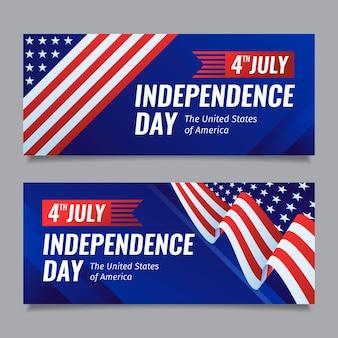 Flaches design 4. juli - unabhängigkeitstag banner pack