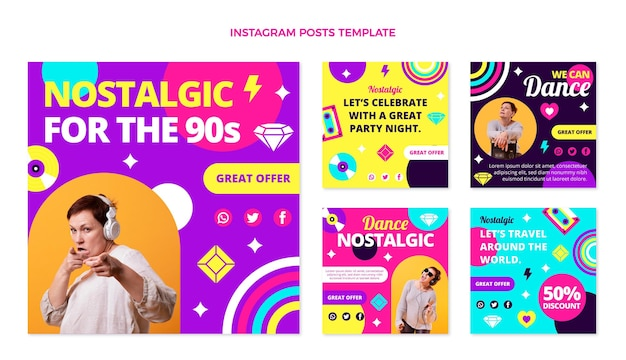 Flaches design 90er jahre musikfestival instagram post