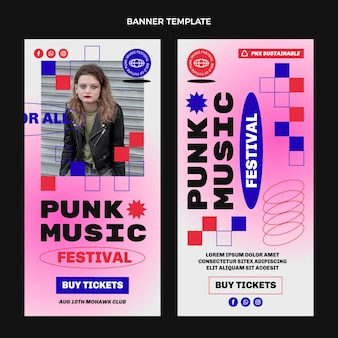 Flaches design 90er jahre musikfestival vertikale banner