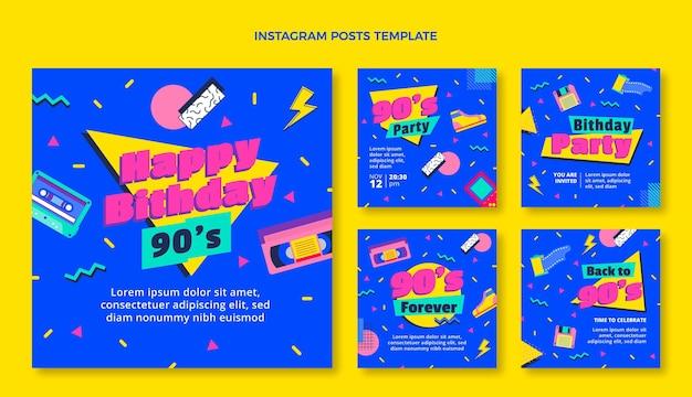 Flaches design 90er jahre nostalgische geburtstags-instagram-beiträge