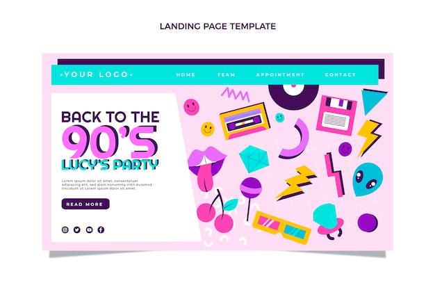 Flaches design 90er jahre nostalgische geburtstags-landingpage